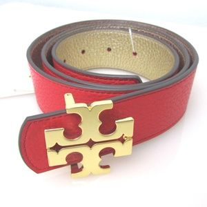 Reversible Belt 1 1/2'' Leather Brilliant Red Gold